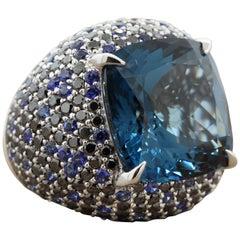Massive Blue Topaz Sapphire Diamond Gold Cocktail Ring