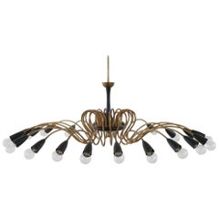 Massive Brass & Black Chandelier