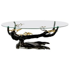 Massive Brass Coffee Table in the Style of Willy, Daro, Belgium, 1970s
