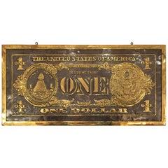 "Massive Brass Wall Sculpture in Relief ""Dollar Bill"""