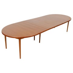 Massive Børge Mogensen Style Oval Dining Table with 4 Leaves