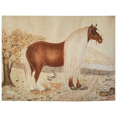 Massive British Watercolor of a Barge Horse Named Bob, Signed M.N. Carr