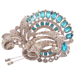 Massive Brooch Staret With Blue Rhinestones 1930s