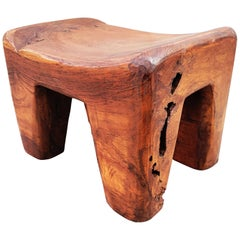 Massive Brutalist Olive Wood Stool, Spain, 1960s