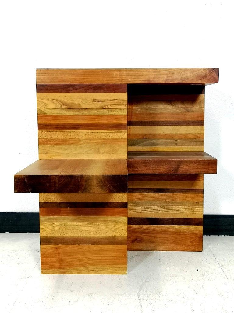 Mid-Century Modern Massive Brutalist Wooden Nightstands, 1970s For Sale