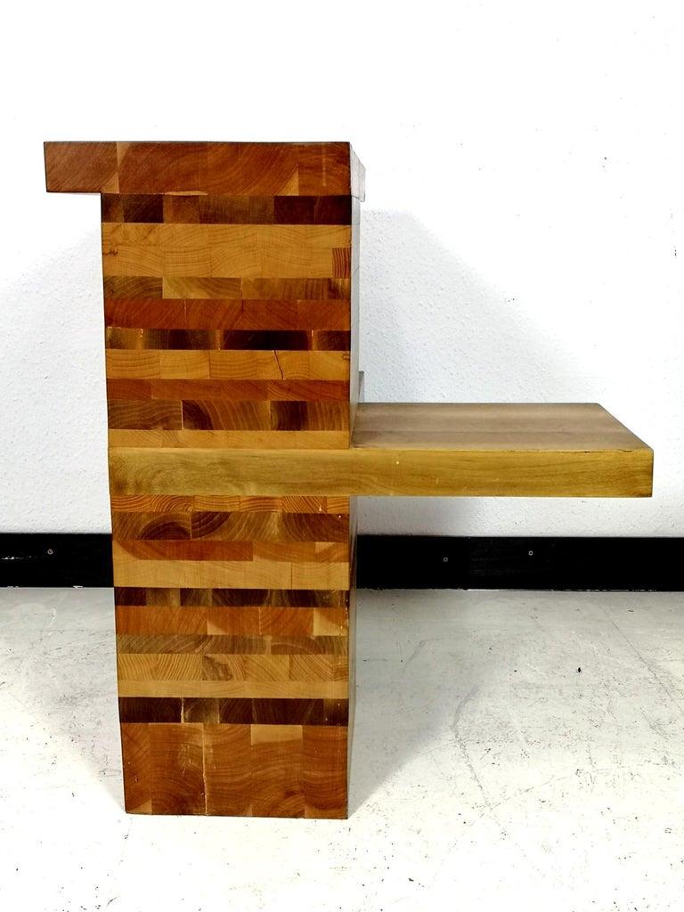 European Massive Brutalist Wooden Nightstands, 1970s For Sale