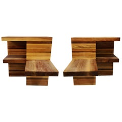 Massive Brutalist Wooden Nightstands, 1970s