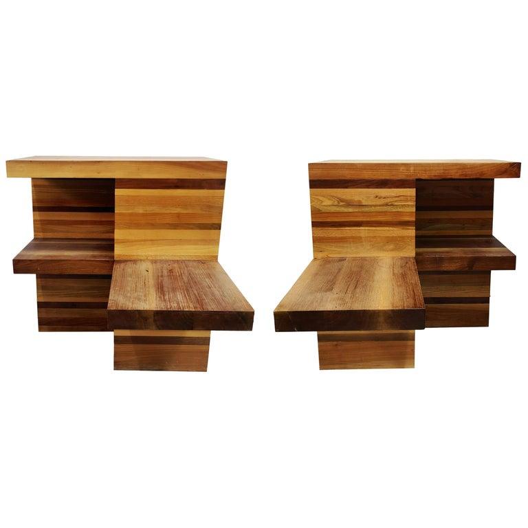 Massive Brutalist Wooden Nightstands, 1970s For Sale
