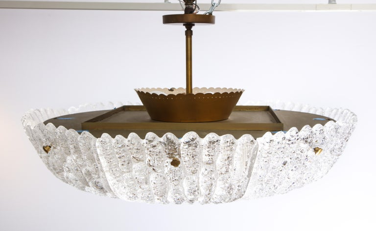 Massive Carl Fagerlund Pendant Fixture for Orrefors  In Good Condition For Sale In New York, NY