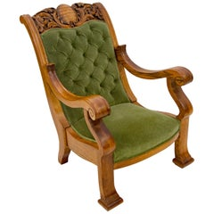Massive Carved Oak Victorian Armchair / Gentleman's Chair