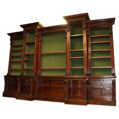 Massive Carved Victorian Open Bookcase Bookshelf, circa 1890s