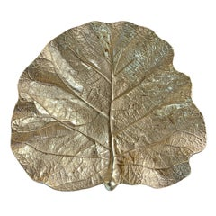 Massive Cast Brass Fiddle Leaf Fig Leaf Dish