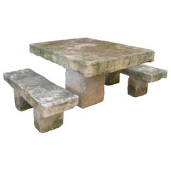 Massive Cast Stone Slab Outdoor Table and Bench Set