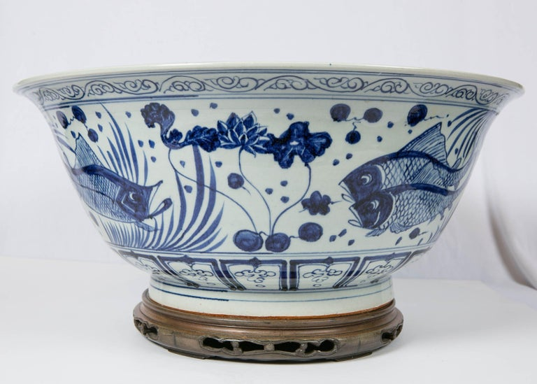 Stoneware Massive Chinese Blue and White Punch Bowl Decorated with Fish For Sale