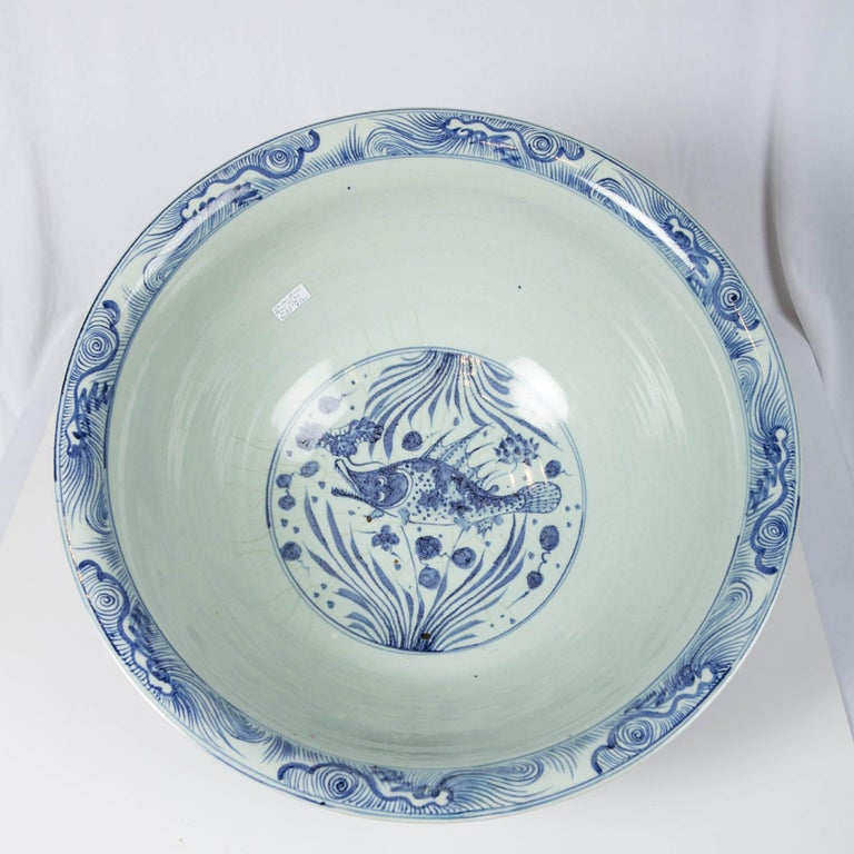 Massive Chinese Blue and White Punch Bowl Decorated with Fish For Sale 5