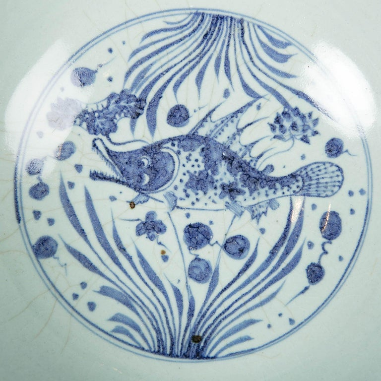 Massive Chinese Blue and White Punch Bowl Decorated with Fish For Sale 2