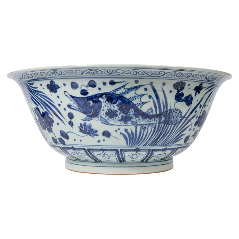 Massive Chinese Blue and White Punch Bowl Decorated with Fish For Sale