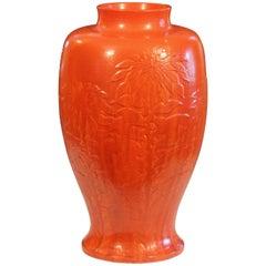 Massive Chrome Orange Awaji Pottery Art Deco Chrysanthemum Vase