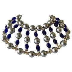 Massive Cobalt Blue, Diamante, and Grey Pearl Bib Necklace