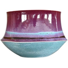 Japanese Large Blue Purple Hand-Glazed Porcelain Bowl by Master Artist