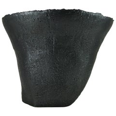 Massive Contemporary Vessel Grey Stoneware with Black Metallic Glaze