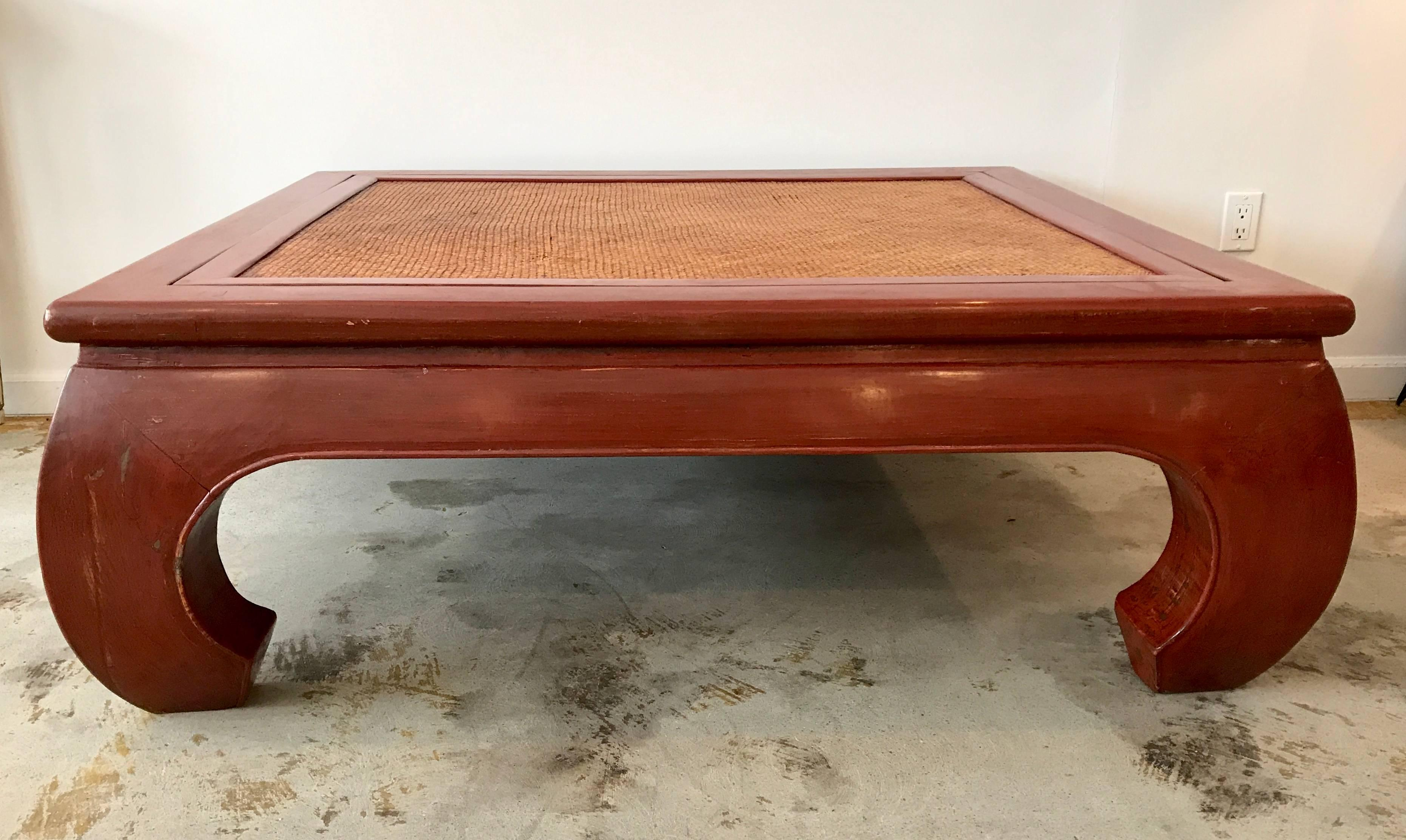 Massive, Beautiful Chinese Chow Leg Coffee Table Painted A Vibrant Coral  Red, Cane Top