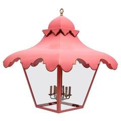 Massive Cotton Candy Pink Six Light Lantern Chandelier