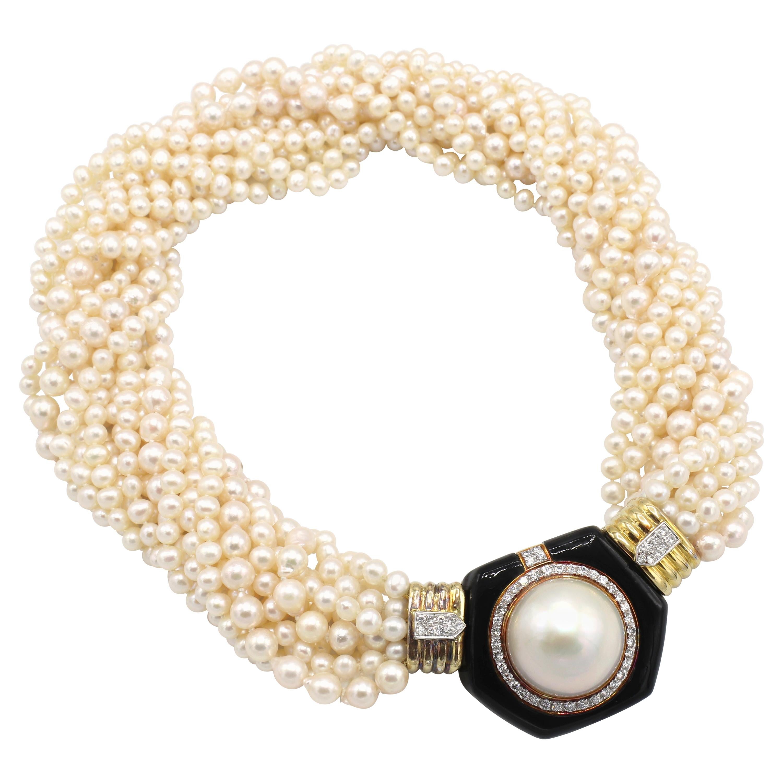 Massive Cultured Pearl, Diamond & Onyx Multi-Strand Pearl Yellow Gold Necklace