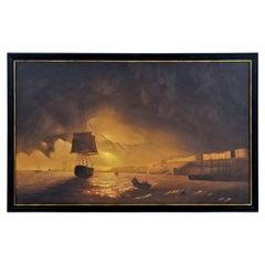 Massive Dark Sunset Spanish Harbor Galleon Nautical Oil Painting Framed