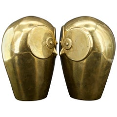 Massive Dolbi Cashier Brass Owl Bookends Sculptures Mid-Century like James Mont