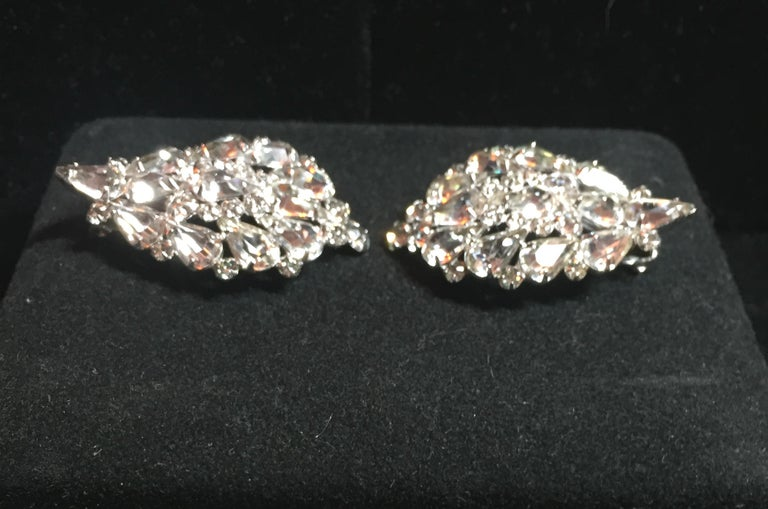 Massive Elsa Schiaparelli Crystal & Rhodium Orchid Brooch & Earrings, 1950s For Sale 5