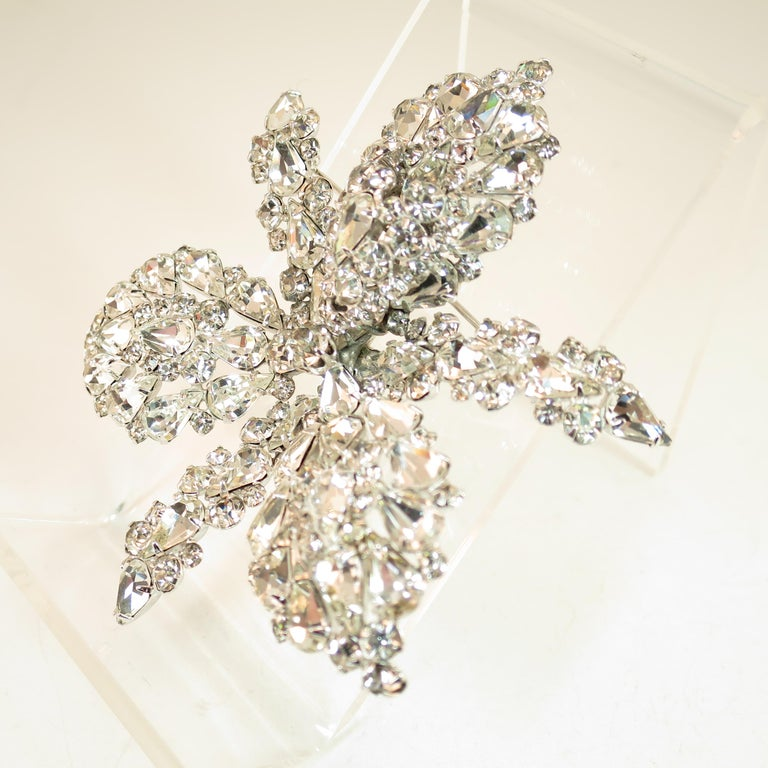 Massive Elsa Schiaparelli Crystal & Rhodium Orchid Brooch & Earrings, 1950s For Sale 6