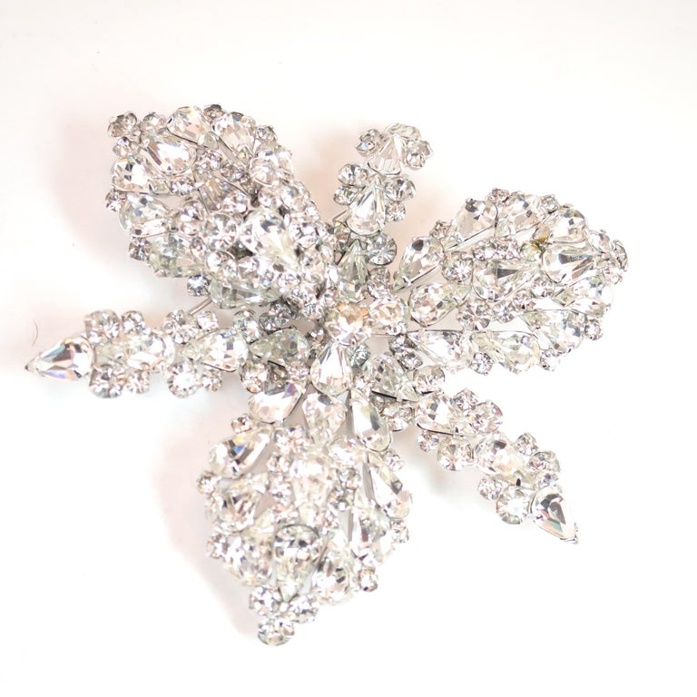 Massive Elsa Schiaparelli Crystal & Rhodium Orchid Brooch & Earrings, 1950s For Sale 7