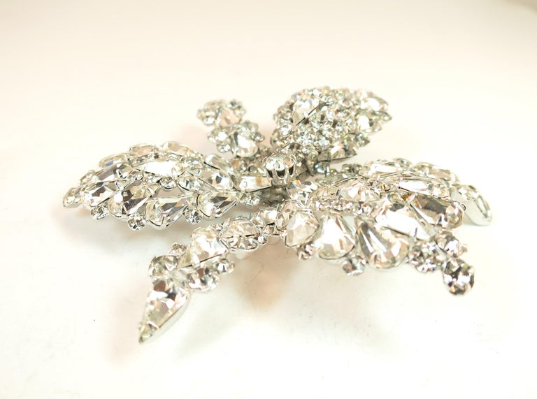 Massive Elsa Schiaparelli Crystal & Rhodium Orchid Brooch & Earrings, 1950s For Sale 8