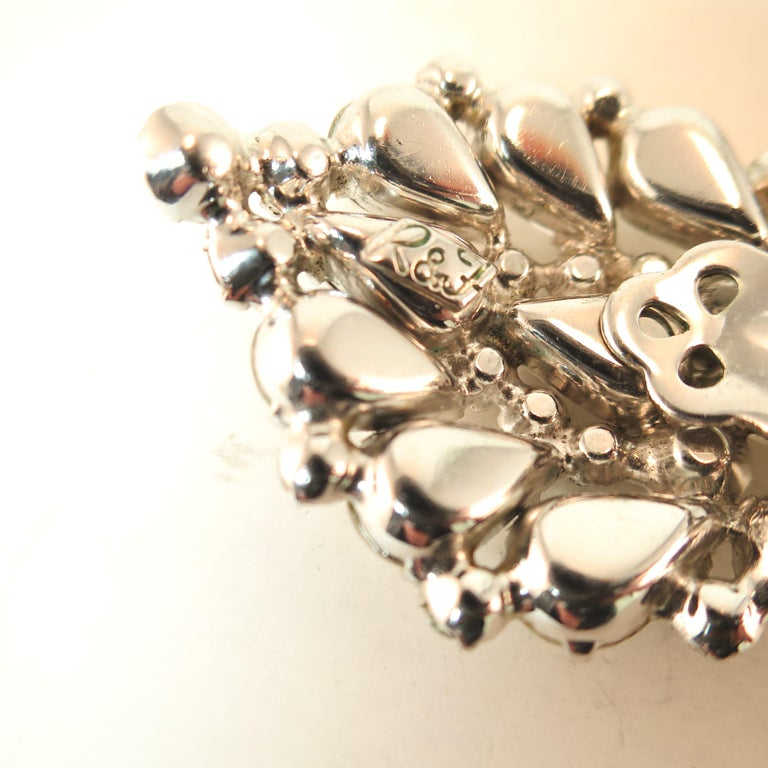 Massive Elsa Schiaparelli Crystal & Rhodium Orchid Brooch & Earrings, 1950s For Sale 9