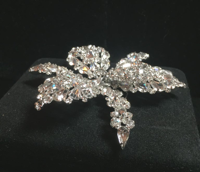 Massive Elsa Schiaparelli Crystal & Rhodium Orchid Brooch & Earrings, 1950s In Excellent Condition For Sale In Burbank, CA