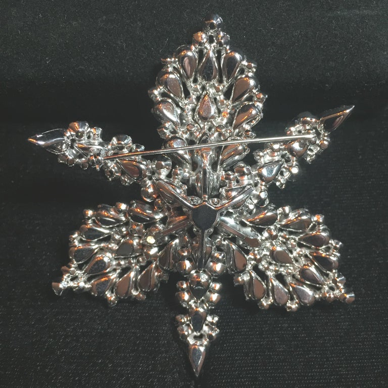 Massive Elsa Schiaparelli Crystal & Rhodium Orchid Brooch & Earrings, 1950s For Sale 2