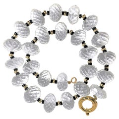 Massive Faceted Rock Crystal, Onyx and Gold Necklace with 18k Clasp