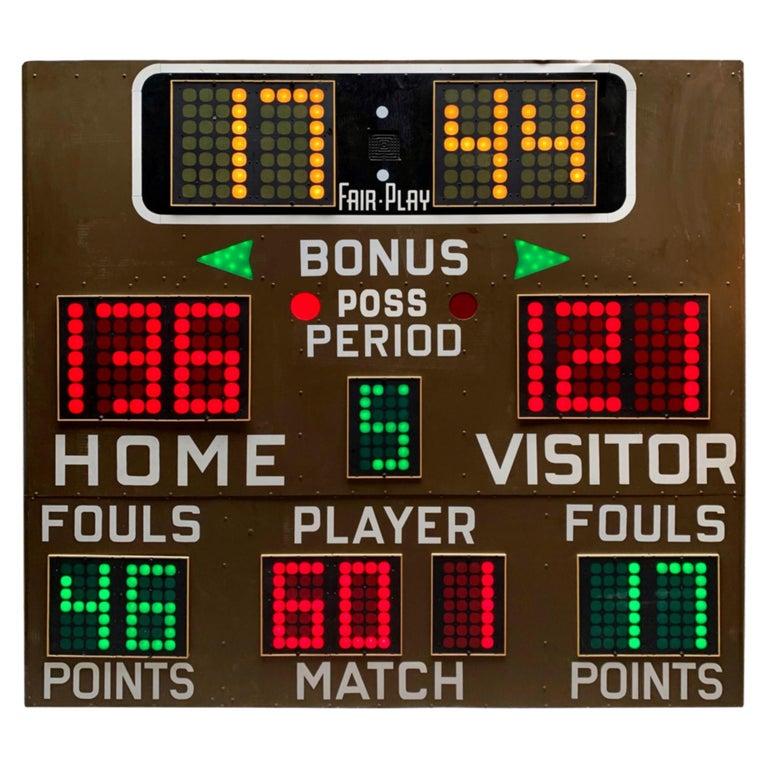 Massive Fair Play 1970s Basketball Scoreboard For Sale At