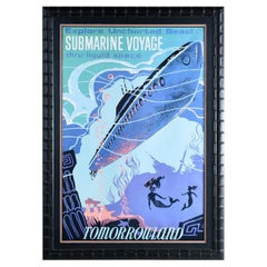 Massive Framed Disney Tomorrowland Submarine Voyage and Mermaid Poster