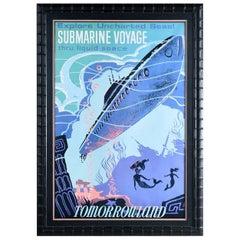 Massive Framed Disney Tomorrowland Submarine Voyage and Mermaid Poster