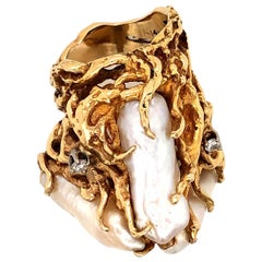 Massive Freeform Pearl and Diamond Statement Ring
