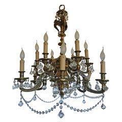 Massive French Louis XV Baroque Gilt Bronze 12-Light Chandelier, 19th Century