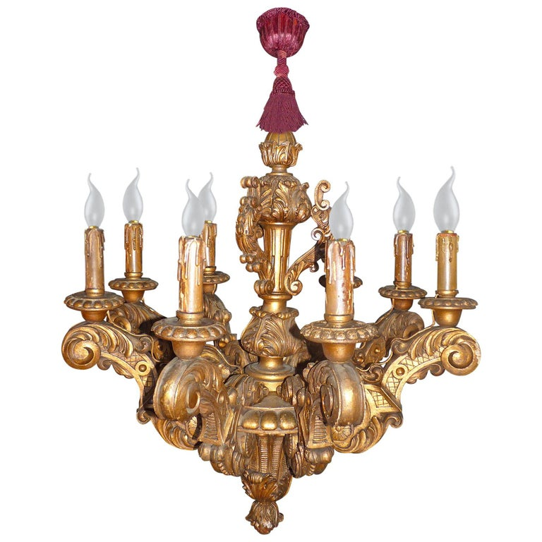 Louis XVI Massive French Louis XV Baroque Gilt Carved Wood 8-Light Chandelier 19th Century For Sale