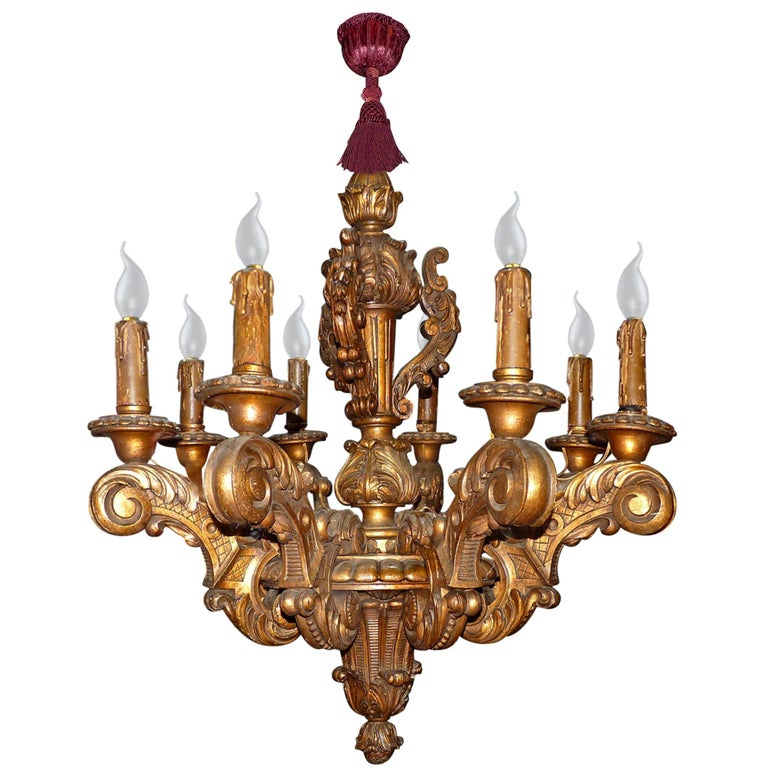 Massive French Louis XV Baroque Gilt Carved Wood 8-Light Chandelier 19th Century For Sale