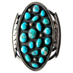 Massive Gentlemans Sterling Silver and Turquoise Navajo Cuff Bracelet