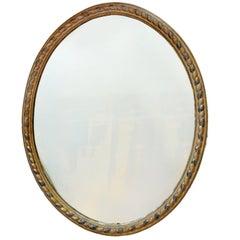 Massive George III Irish and Silver Leaf Oval Mirror, circa 1780