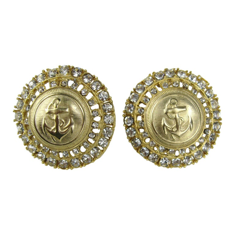 Massive Gilt Gold Crystal Anchor Earrings For Sale