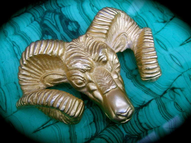 Massive Gilt Metal Rams Head Belt Buckle by Katherine Baumann Beverly Hills 1990 For Sale 2