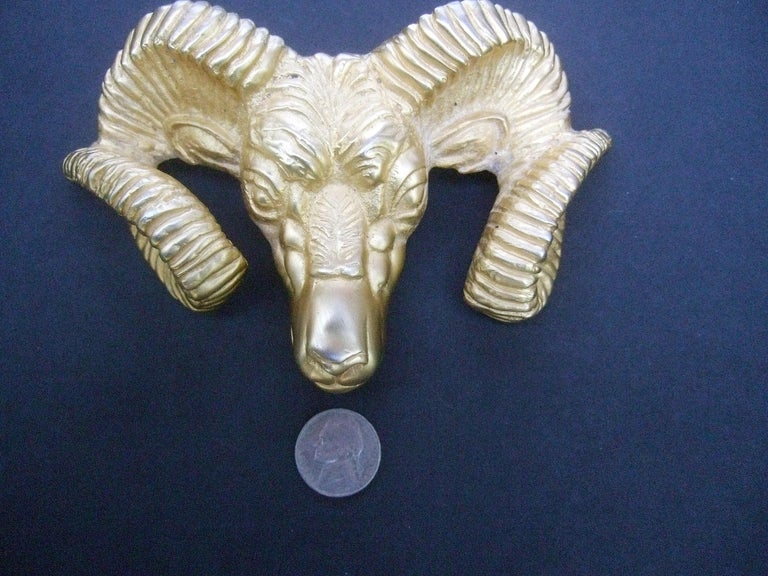 Massive Gilt Metal Rams Head Belt Buckle by Katherine Baumann Beverly Hills 1990 For Sale 3